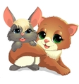 Kitten and bunny vector image
