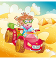 Little girl riding quad bike vector image vector image