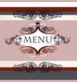 luxury menu design in vintage style with banner vector image vector image