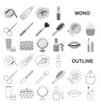 makeup and cosmetics monochrom icons in set vector image vector image