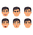 male emotions set pack of facial expressions vector image vector image