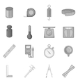 Measure tools icons set monochrome style vector image vector image