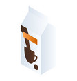 milk for coffee package icon isometric style vector image vector image
