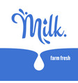 milk splash logo lettering background vector image vector image