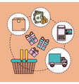 peach color background with shopping basket and vector image vector image