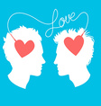 Profiles of two men connected by love wir vector image vector image