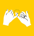 promise hands gesturing on yellow background vector image vector image