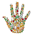 Real estate icons in a human hand vector image vector image