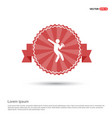 rugby player icon - red ribbon banner vector image