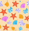 sea shells and stars marine cartoon clam-shell vector image vector image