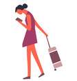 tourist with luggage searching destination in vector image vector image