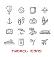 Travel and leisure thin line icons vector image vector image
