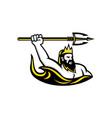 triton wielding trident mascot vector image vector image