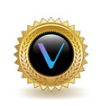 vechain cryptocurrency coin gold badge vector image vector image
