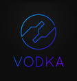 vodka premium logo linear neon bottles vodka vector image vector image