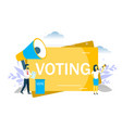 voting woman speaking through megaphone vector image vector image