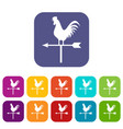 weather vane with cock icons set vector image vector image