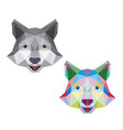 wolf face with polygonal geometric style vector image