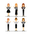 women set in formal clothes on colorful silhouette vector image
