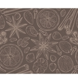 Seamless pattern with Christmas spices and citrus vector image
