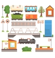 Train Tansport Related Collection Of Icons vector image