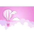 air balloon over pink clouds template background vector image