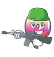 army jelly ring candy character cartoon vector image