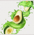avocado fruit juice splash vector image vector image