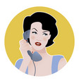 beautiful girl talking on the phone retro style vector image vector image
