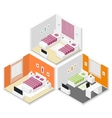 Bedrooms isometric icon set vector image