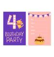 birthday invitation card template cute funny cat vector image