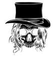 black silhouette woman skull pimp vector image