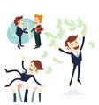 business men handshake businessman throwing money vector image vector image