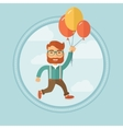 Businessman flying up away on bunch of balloons vector image vector image