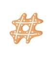 cartoon ginger bread cookies sign hashtag hand vector image