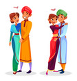 cartoon indian couples hugging vector image