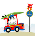 cartoon of little cow on car carrying surfboard vector image vector image