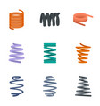 coil cable icon set flat style vector image vector image