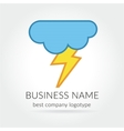 Colored lightning logo logotype with cloud for vector image vector image