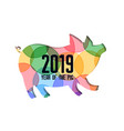 colorful papercut pig for 2019 happy chinese new vector image
