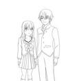 couple anime manga vector image vector image