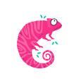 cute little pink chameleo flat vector image