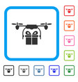drone gift delivery framed icon vector image vector image