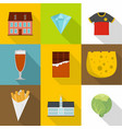 english food icons set cartoon style vector image vector image