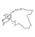 estonia map of black contour curves of vector image vector image