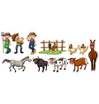 Farmers and farm animals set vector image vector image