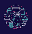 fast food circle with flat line icons vector image vector image