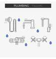 Faucets water tap thin line icons set vector image