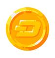 golden dash coin crypto currency blockchain symbol vector image vector image