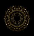 golden radial mandala ornament on black vector image